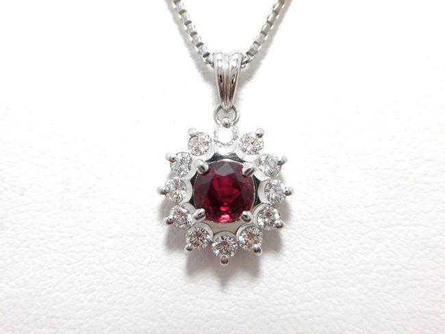 Ptルビーダイヤペンダント ルビー0.78ct ダイヤ0.44ct 40cm 11857 ペンダント ダイヤモンド