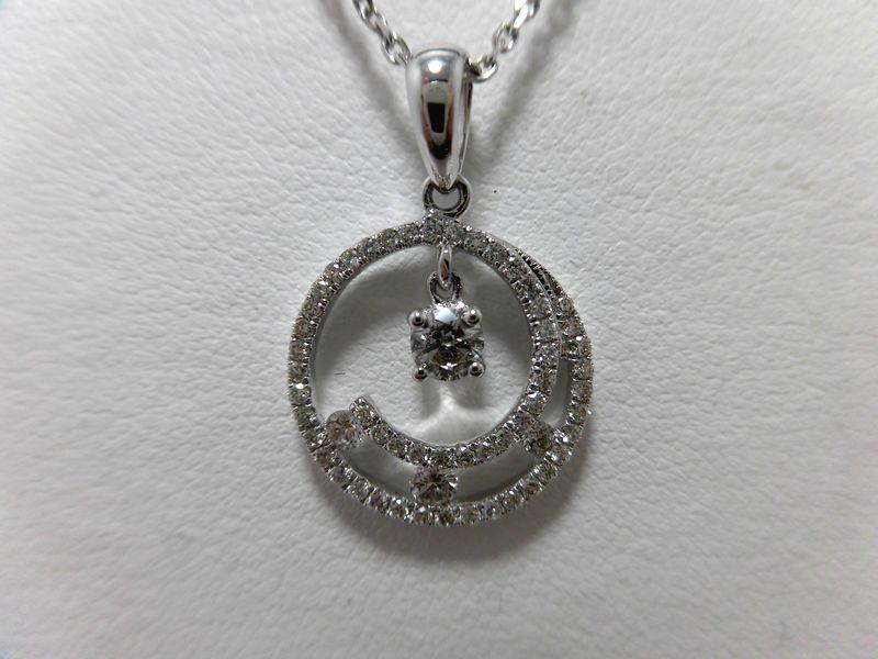 K18WGダイヤモンドペンダント D0.15ct 0.37ct ペンダント プレゼント お買い得
