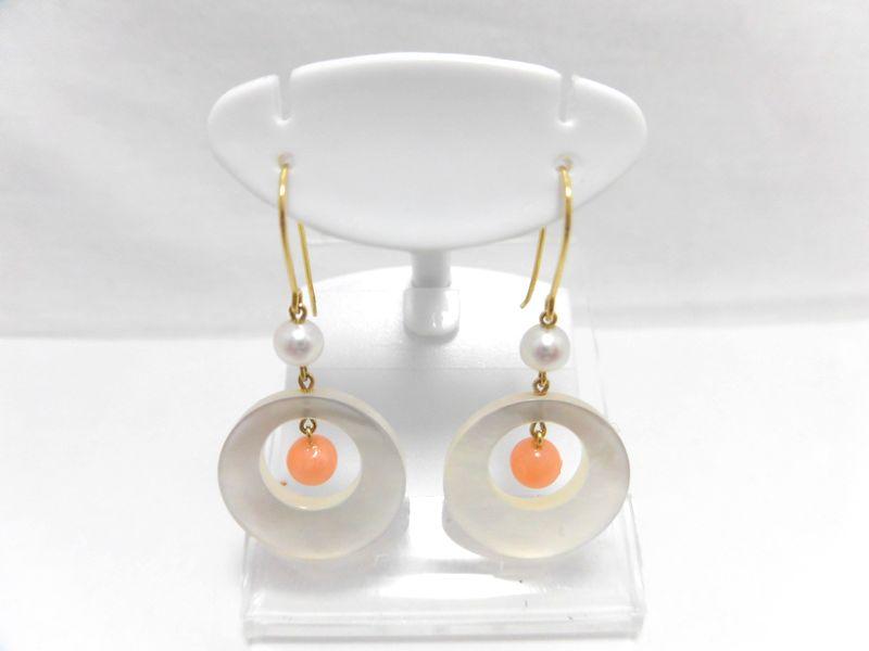 K18あこや真珠サンゴピアス/真珠約3.5mm サンゴ約4.5mm/ジュエリー/アクセサリー/ダイヤ/送料無料