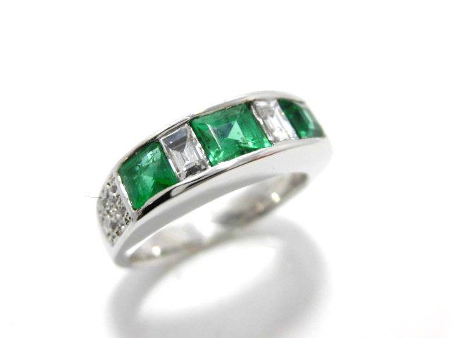 Ptエメラルドダイヤリング/エメラルド1.05ct ダイヤ0.33ct/G1653/リング/指輪/ジュエリーレディース/プレゼント/ギフト/お買い得/オススメ/送料込み/宝石