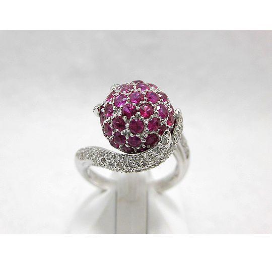 K18ホワイトゴールドルビーリング ダイヤモンド 0.61ct ルビー 1.93ct ジュエリー リング 指輪 プレゼント 贈り物 ギフト 女性用 14号 F6018