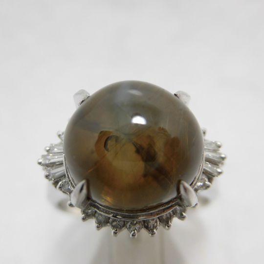 プラチナキャッツアイリング ダイヤモンド ジュエリー リング 指輪 プレゼント 贈り物 ギフト 女性用 C4394