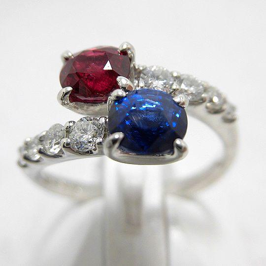 ルビーサファイヤリング プラチナ ダイヤモンド ジュエリー リング 指輪 プレゼント 贈り物 ギフト 女性用 G2396