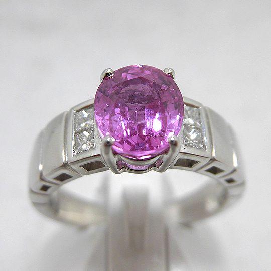 サファイヤリング プラチナ ピンクサファイヤ ダイヤモンド ジュエリー リング 指輪 プレゼント 贈り物 ギフト 女性用 G1580