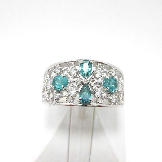 パライバリング プラチナ ダイヤモンド パライバトルマリン ジュエリー ピアス プレゼント 贈り物 G2555