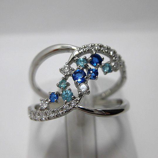パライバリング 0.08ct ダイヤモンド 0.28ct アウイナイト0.11ct プラチナ 指輪 ジュエリー 女性用 プレゼント 贈り物 G3126
