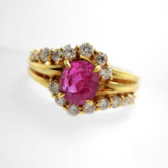 K18ルビーリング ダイヤモンド 0.44ct ルビー 1.12ct ジュエリー リング 指輪 プレゼント 贈り物 ギフト 女性用 B8780 30%OFF