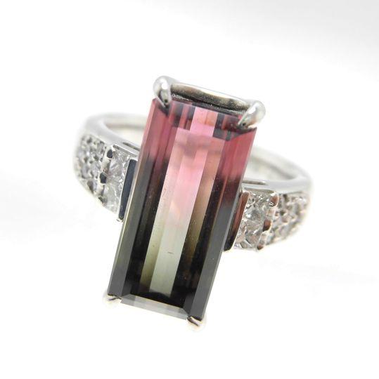 Ptバイカラートルマリンリング ダイヤモンド 0.34ct トルマリン 5.74ct ジュエリー リング 指輪 プレゼント 贈り物 ギフト 女性用 オノ21285 30%OFF