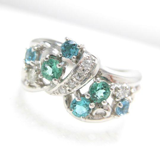 Ptパライバトルマリンリング ダイヤモンド 0.10ct パライバ 0.57ct ジュエリー リング 指輪 プレゼント 贈り物 ギフト 女性用 G3125 30%OFF価格
