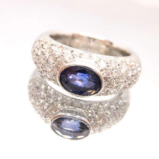 PTサファイアダイヤリング プラチナ サファイア 1.30ct ダイヤモンド 1.14ct D709 送料無料 30%OFF価格