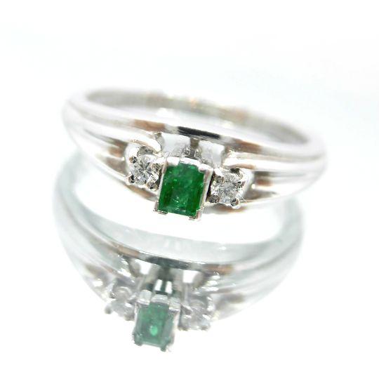 PTエメラルドリング プラチナ エメラルド 0.08ct ダイヤモンド 0.04ct 8 送料無料 40%OFF価格