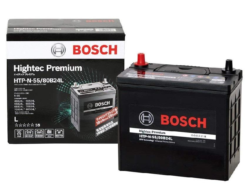 安心の長寿命!BOSCH ボッシュ 国産車用ハイテック プレミアム バッテリー HTP N-55/80B24L