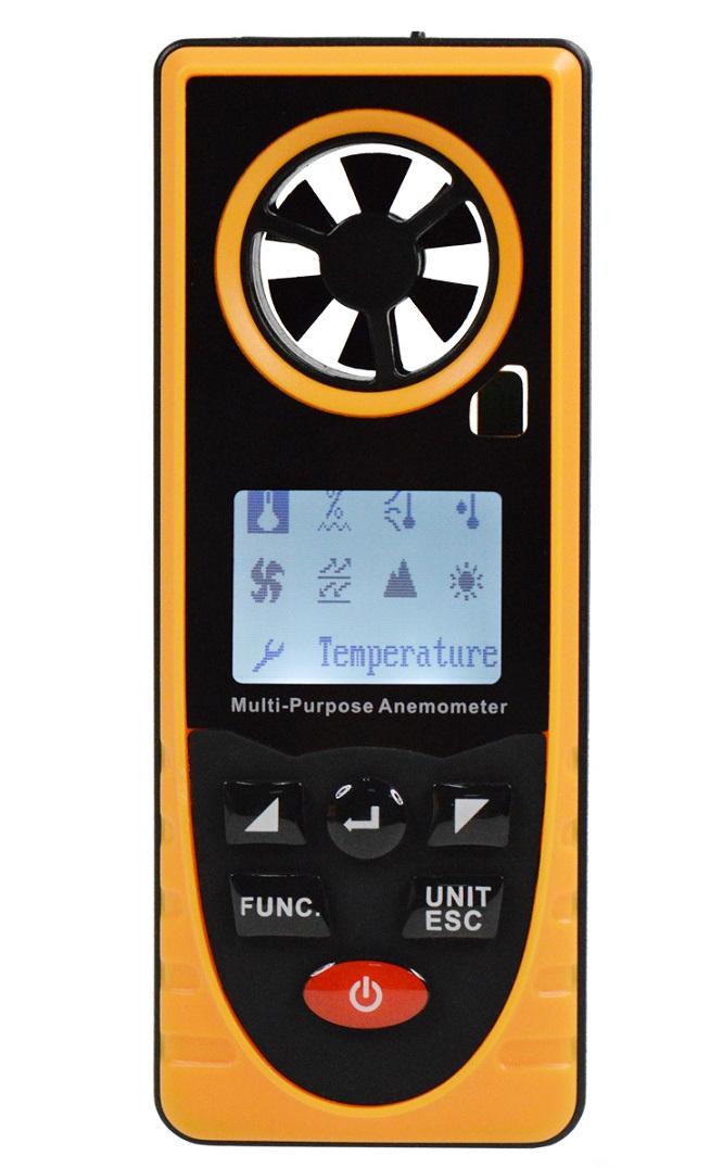 多機能ポケット高性能低価格気象メーター/気象計、風速計 温度 露点 湿度 大気圧 海抜 照度 ウィンドチルインデクス データ記録機能