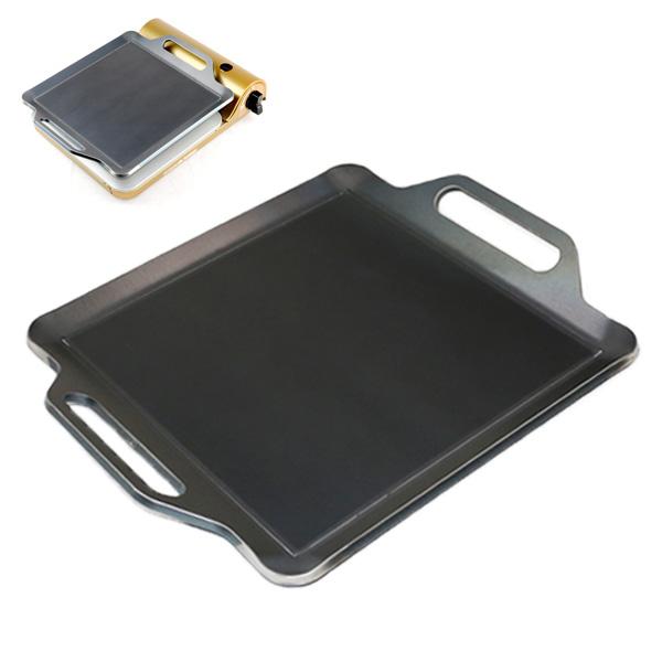 プロ仕様!極厚バーベキュー鉄板!BBQ・アウトドアの必須アイテム。 イワタニ カセットフー 達人スリム3専用グリルプレート 板厚9.0mm ズレ止め付き