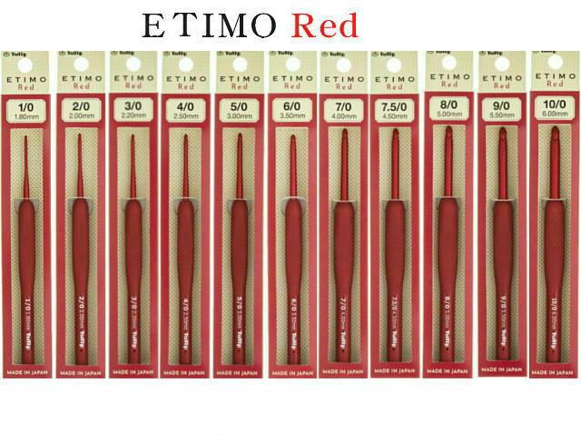 ETIMO単品 Red レッド 1-10号まで0.5サイズもこのカタログで買えます ETIMO 単品 まとめ買い特価 かぎ針 オリジナル エティモレッド red