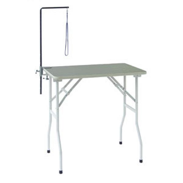 【純国産折りたたみ式テーブル】トリミングテーブル ホワイトST 万力式アーム付 (W750×D450×H775mm)【サロン】【人気】