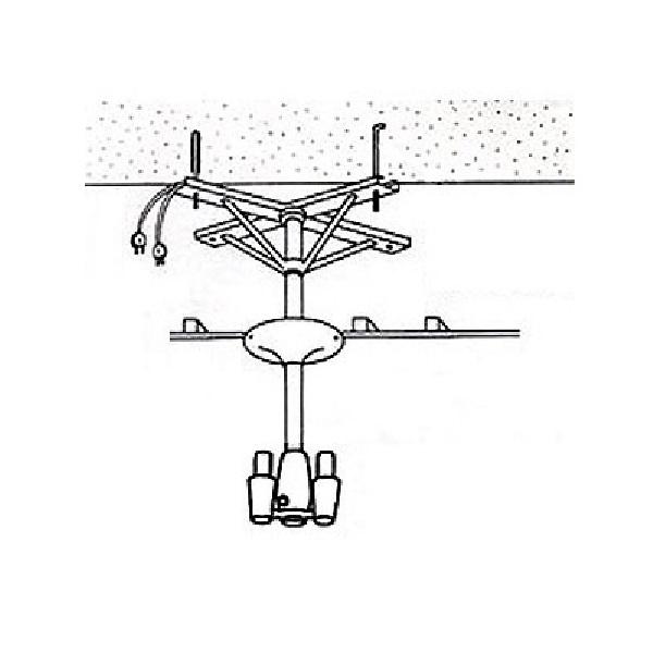 【アーム型ドライヤー用取付金具】ハチコウ アーム型ドライヤー用天吊金具Aアングル2台用