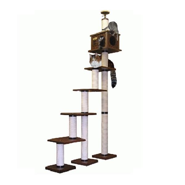 【キャットタワーのパイオニア】階段キティLA4段-DX  [天井高2m25cm~2m45cmまで対応] 代引き不可商品【猫 キャットタワー 猫タワー】【おすすめ】【頑丈】【ブリーダー推奨品】