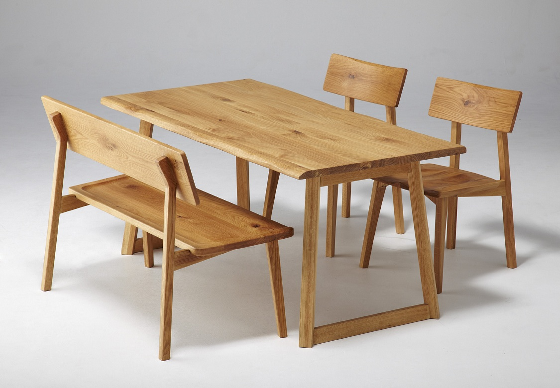 Four points of Japanese oak pure materials dining sets organic / dining set  / dining table