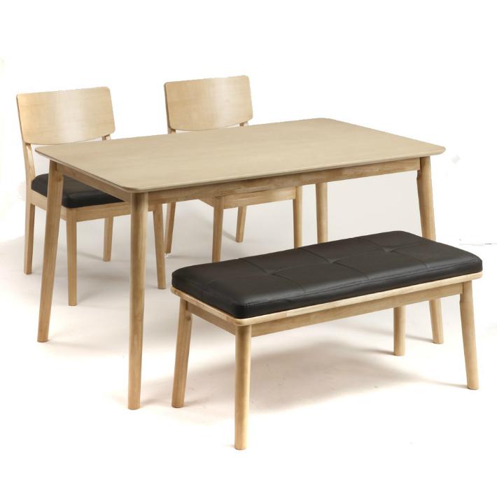 ダイニング4点セット ローブル ダイニングセット ダイニングテーブル 4点セットベンチタイプ (120cm幅/4人掛け用) ナチュラル 食卓セット