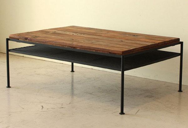 【送料無料】レトロ リビングテーブル センターテーブル オイル塗装 アンティーク調 96*63