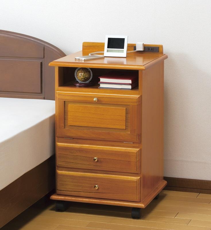 ナイトテーブル 桐製ベッドサイドワゴン 縦型(コンセント付き)サイドテーブル 木製 キャスター付きテーブル 送料無料