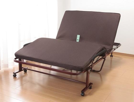 【送料無料】電動リクライニングベッド 低反発ウレタン 折り畳み電動リクライニングベッド シングルサイズ 立座り楽ちん電動リクライニングベッド 低反発メッシュ仕様収納式