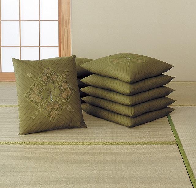 【送料無料】日本製 銘仙判座布団10枚組 グリーン・ブラウン 座り心地の良い座布団 もめん綿