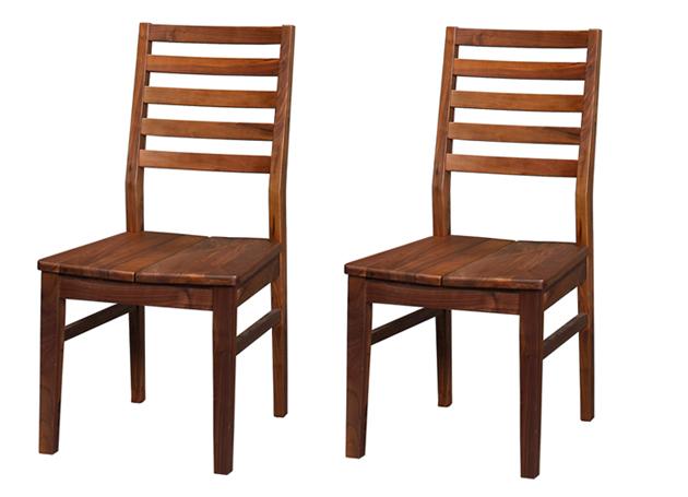 【送料無料】ダイニングチェアー 2脚セット ウォールナット無垢集成材 Dortmund(ドルトムンド) 板座タイプ イス 椅子