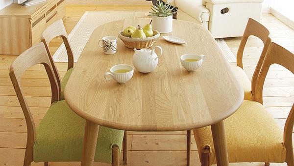 【送料無料】アウトレット クローバー 楕円ダイニングテーブル ナラ無垢材 ダイニングテーブル オーバルダイニングテーブル