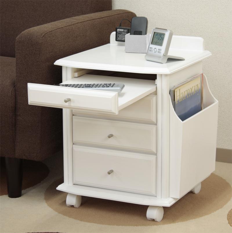 【送料無料】サイドテーブル ベッドサイドテーブル ソファーサイドテーブル 木製サイドテーブル 完成品 ホワイト ダークブラウン ブラウン キャスター付きテーブル