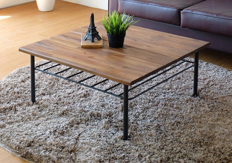 【送料無料】リビングテーブル センターテーブル アカシア無垢材 アイアン脚 ビンテージ風 正方形リビングテーブル 70cm角