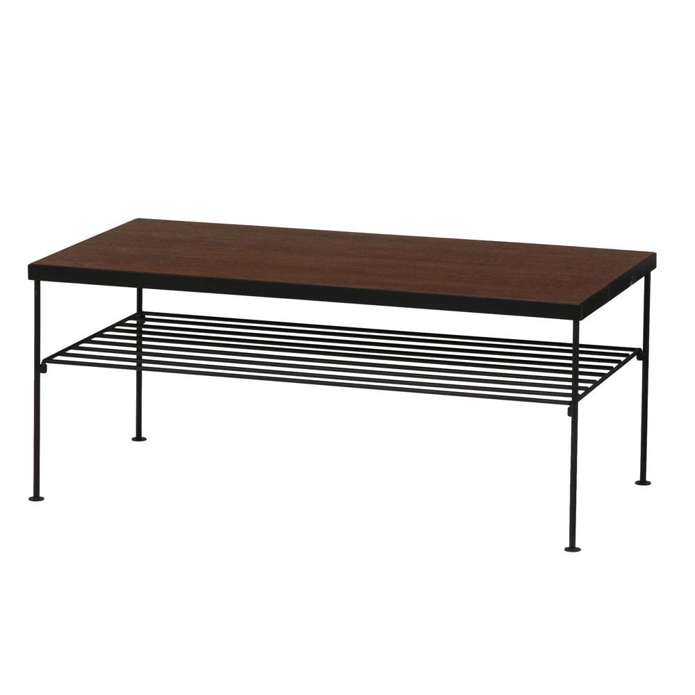 ウォールナットとアイアン センターテーブル ローテーブル アイアン脚 棚付きテーブル