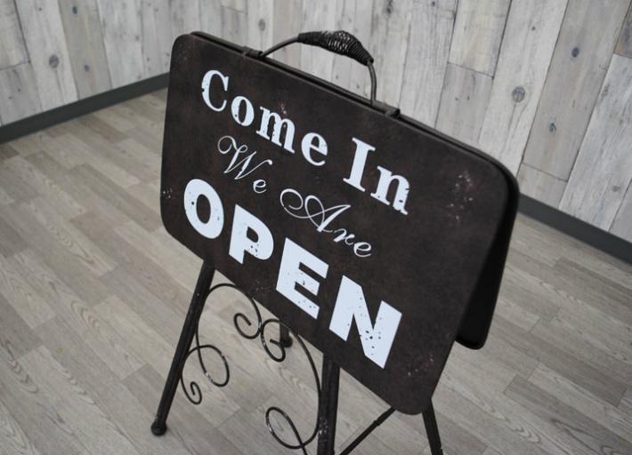 オープン&クローズスタンドブラウン 店舗看板 OPEN CLOSE おしゃれ アンティーク風