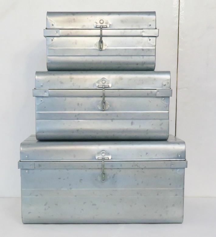 ブリキ トランク 3個セット 懐かしさを感じるブリキの素材感/S・M・Lセット<クラシックトランクBOX> ブリキ収納BOX ボックス アンティーク調 トランク インテリア小物入れ