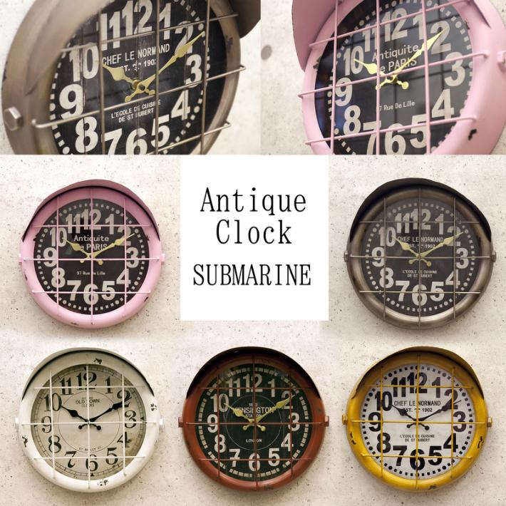 アンティーク調 壁掛時計 アンティーククロック[サブマリン] ヴィンテージ風 クロック レトロ ダメージ加工 ブロンズ イエロー ホワイト ピンク レッド