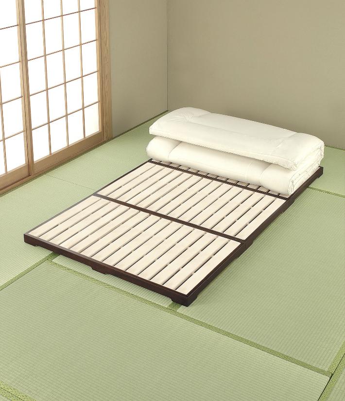 【送料無料】すのこベッド 桐三つ折れスノコベッド ダブルサイズ