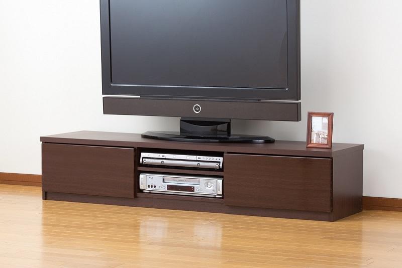 【送料無料】テレビ台 150cm 背面収納 テレビボード 鏡面仕上すっきり収納テレビボード 150cm幅 鏡面ブラウン ローボード 42V対応