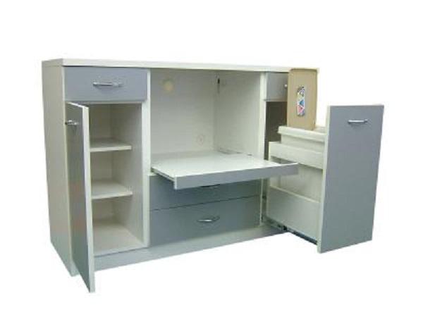 【送料無料】日本製 完成品 キッチンカウンター 幅120cm ダストボックス付きカウンター レンジ台 シルバー ホワイト