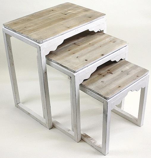 【送料無料】アンティーク調 サイドテーブル 3個セット バロックウッドホワイトテーブルS/3