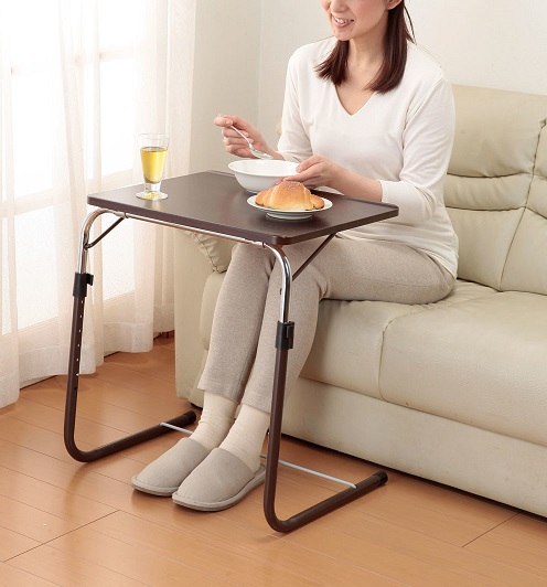 【送料無料】高さ角度調節可能 テーブル サイドテーブル 角度調整付折りたたみテーブル(補強バー付) パソコンテーブル