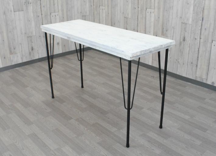 アウトレット訳あり アンティーク調 コンソールテーブル アイアン脚 鉄脚 オールドウッドテーブル カフェ風テーブル デスク ホワイト 幅120 古材 古木 オシャレ