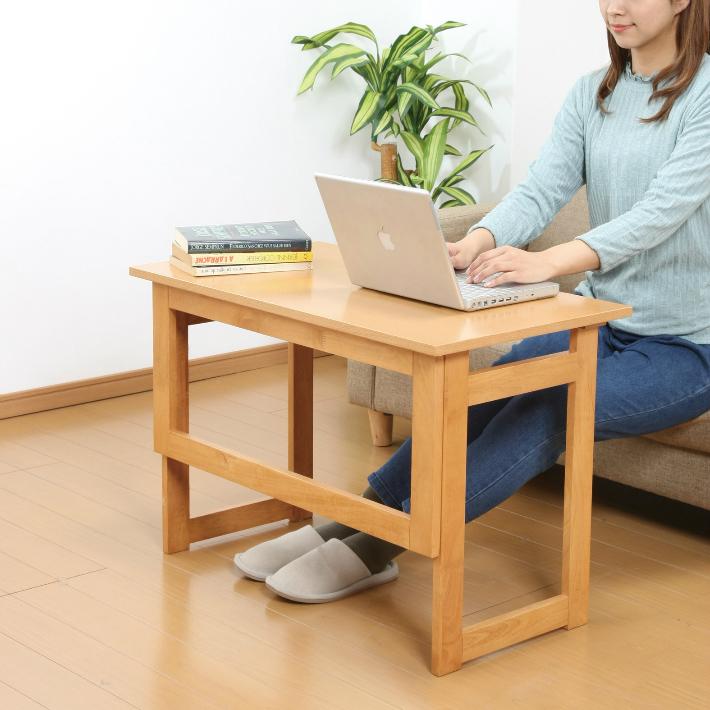 【送料無料】天然木折りたたみテーブル 高さ55cm ブラウン ナチュラル 木製テーブル 簡易テーブル 折畳みテーブル 折りたたみデスク 補助テーブル 作業台 コンパクト