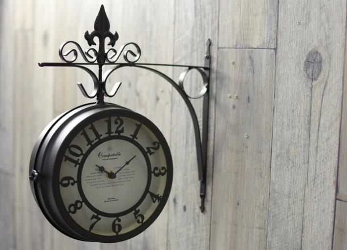 アンティーク調 両面時計 クロック OLD STREET DOUBLE-SIDED CLOCK L BROWN アイアン両面時計 オシャレ プレゼント