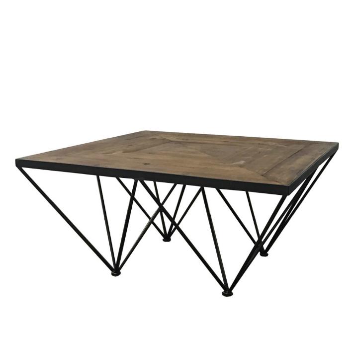 古材 アンティーク調 テーブル KOZAIコーヒーテーブル ジオメトリー センターテーブル ヴィンテージ風 ローテーブル 切り返し模様 ・ブルックリンスタイル 古木
