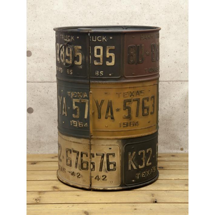 ドラム缶 BOX TINナンバープレート[ドラム缶 ボックス] アンティーク 収納 小物入れ ディスプレイ アンティーク雑貨