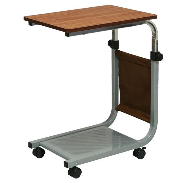 【送料無料】高さ伸縮式サイドテーブルキャスター付 サイドテーブル ソファサイドテーブル 高さ調節可能テーブル ブラウン ナチュラル