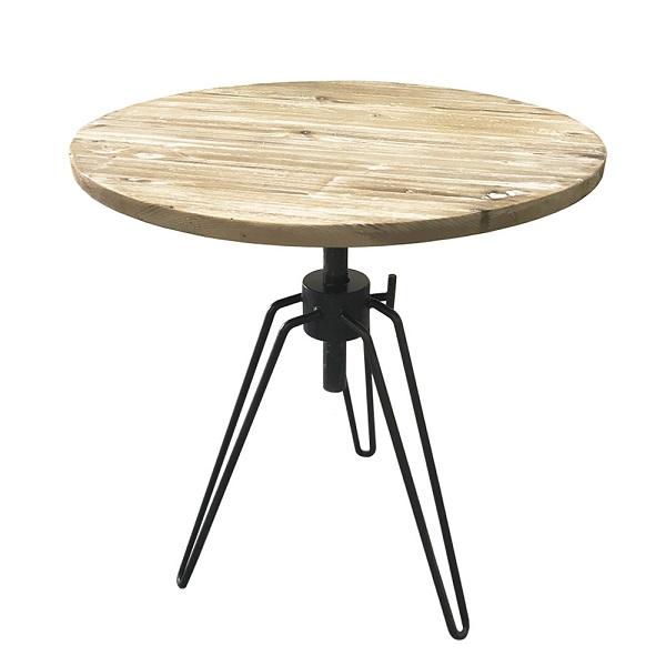 【送料無料】古材 昇降式 丸テーブル テーブル アンティーク風テーブル ヴィンテージ風 カフェテーブル ランドテーブル ブルックリンスタイル