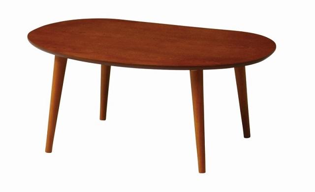 【送料無料】オーバル ローテーブル ブラウン センターテーブル 幅75cm TINA-LT750