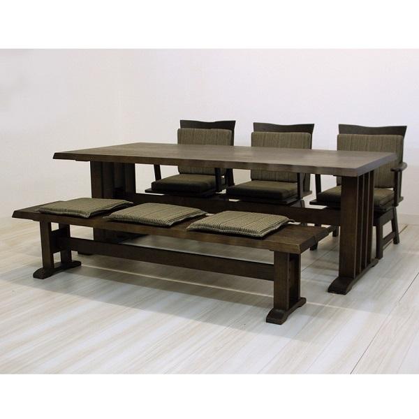 【送料無料】ダイニング5点セット ダイニングテーブル(190幅/6人掛け用) 伊吹 和風ダイニングセット ダークブラウン ナチュラル